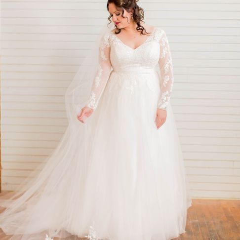 5dbb0a1bb48f Plus Size Long Sleeve Wedding Dress With Low Back | David's Bridal ...