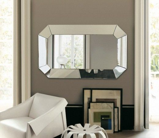 beautiful rectangular wall mirror between two windows | for the