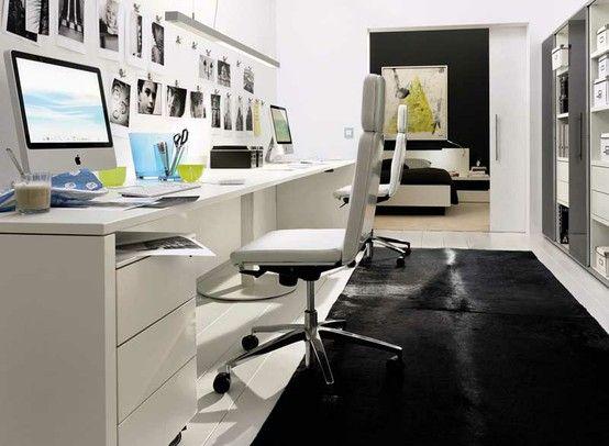 Inspiration déco : un bureau comtemporain noir et blanc pinterest