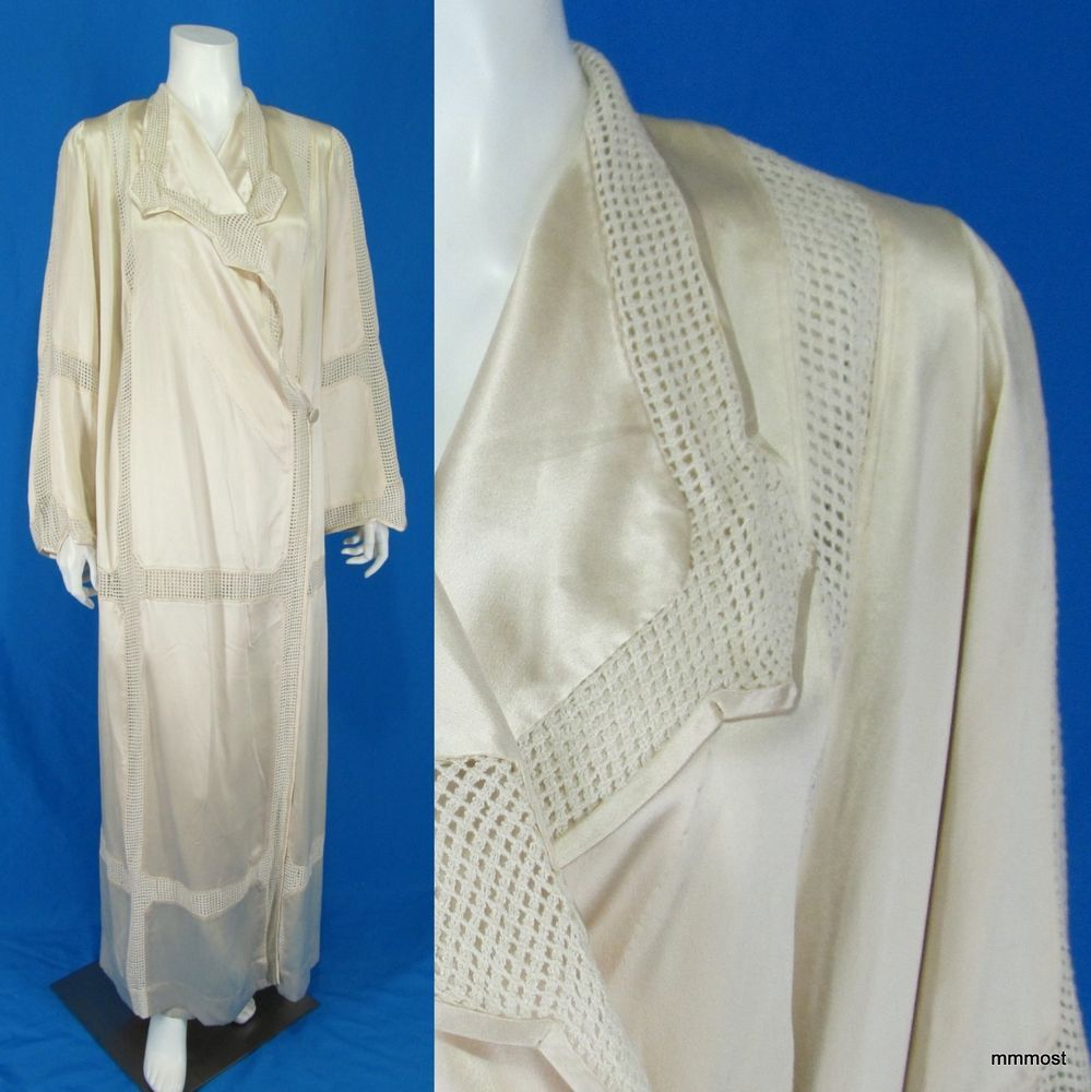 Vintage 1910s 1920s Satin Dressing Gown Lingerie Wrap Robe Open ...