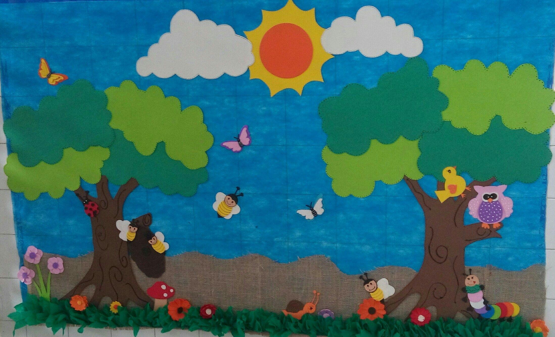 Painel Para Decoracao Em Sala De Aula Feito Com Eva Tnt E Juta