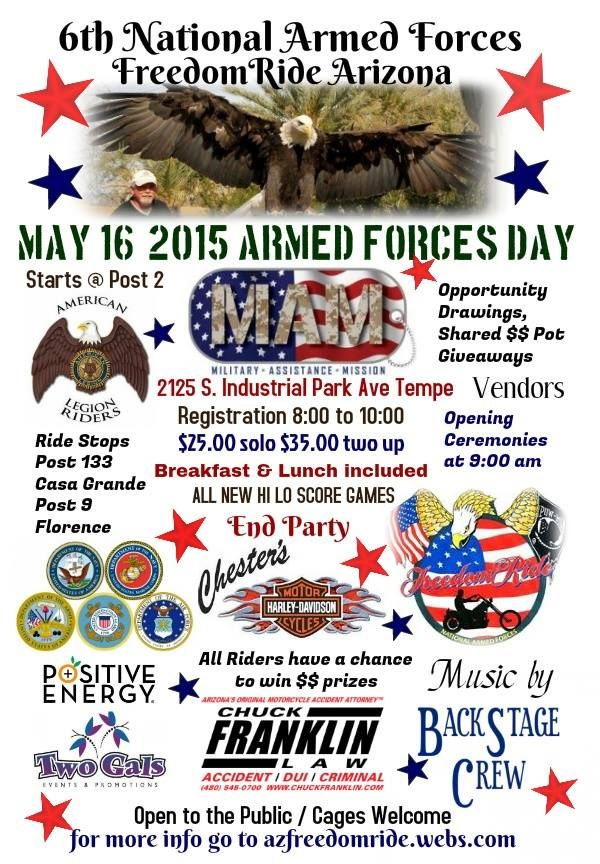 Tempe Az May 16 2015 6th Annual National Armed Forces Freedom Motorcycle Ride Arizona Http Www Cyclefi Motorcycle Events Freedom Rides Charity Events