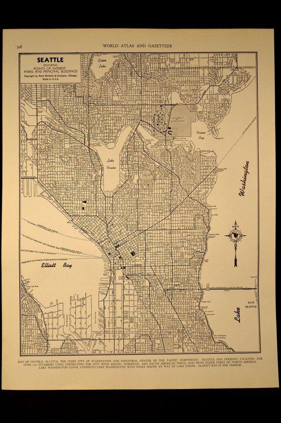 Seattle Map Seattle Street Map Vintage 1940s Original 1945 Seattle