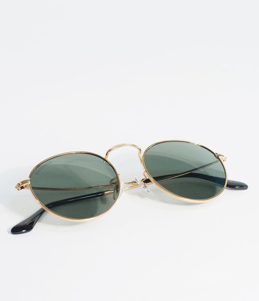 c2191431df Perverse Gold   Green Quarter Orleans Round Sunglasses – Unique Vintage