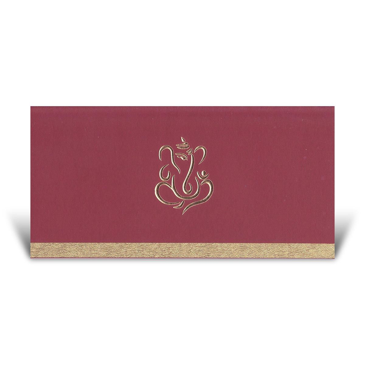 A Simple Yet Elegant Hindu Wedding Card This Features Ganesh In The Centre And Rustic Effect Gold Strip Across Bottom