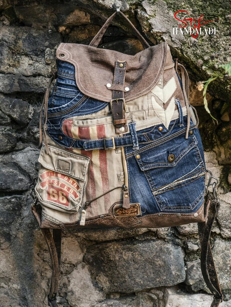 Photo of HIGH-End RUSTIC Denim BACKPACK, Travel Backpack, Military style, Bohemian Backpack, Women's Knapsack, Multi Way leather Artistic Rucksack