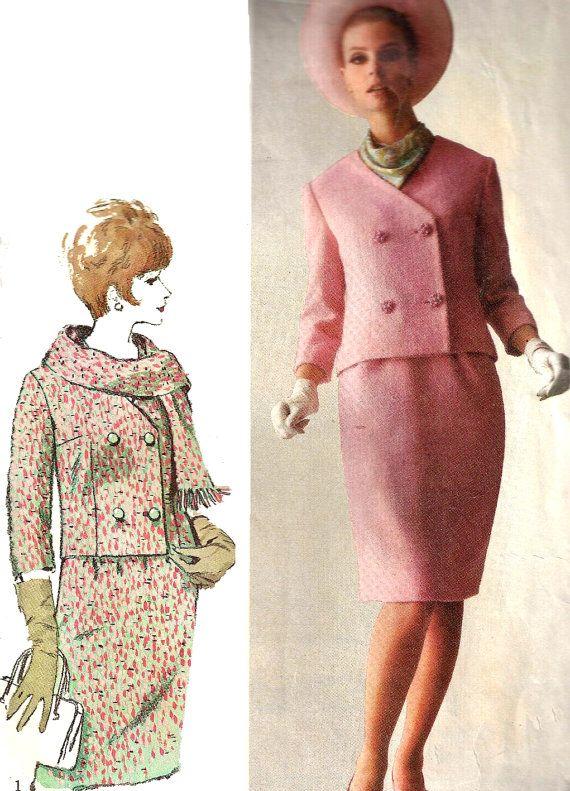 1960 Skirt Jacket Pattern Suit Short Coat Designer Fashion