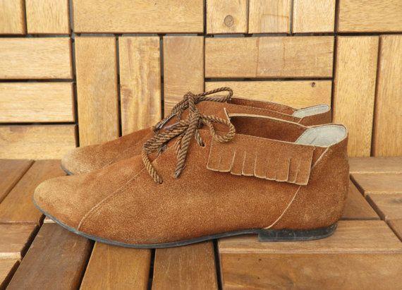 Vintage Lady's Brown Suede Flat Lace Up Shoes Ankle Shoes Size EUR 39 US W 8