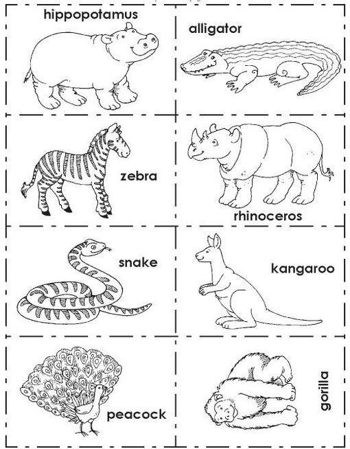 Ficha de Inglés para imprimir gratis: Ingles animales zoo 1. Fichas ...