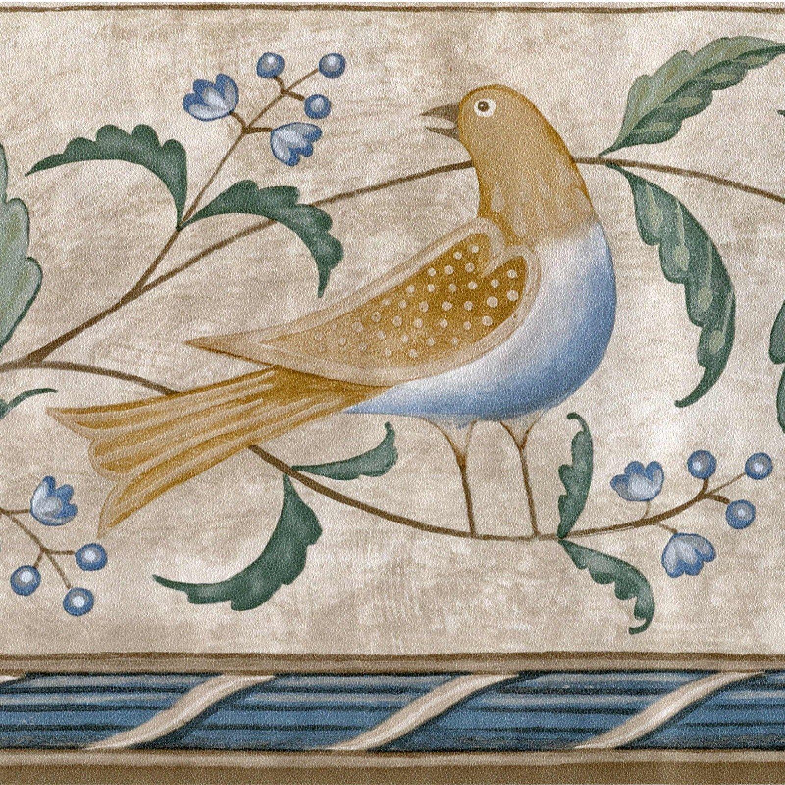 Small Birds, Flowers & Leaf Wallpaper Border Lot 60 feet