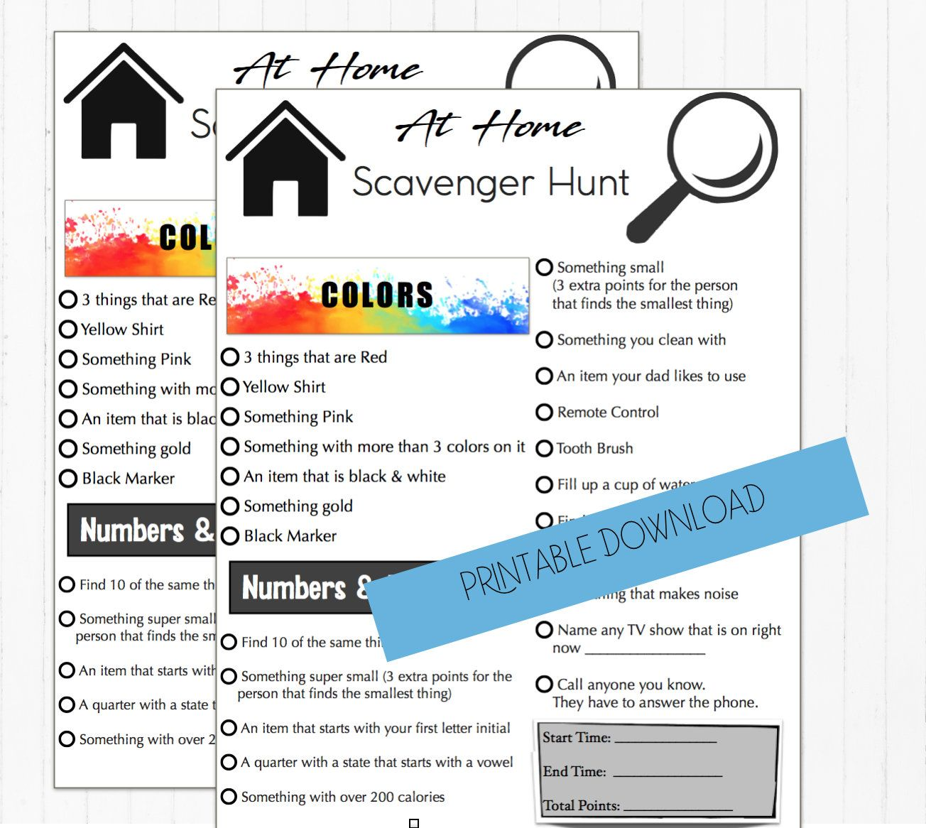 At home scavenger hunt game, Play with family or friends