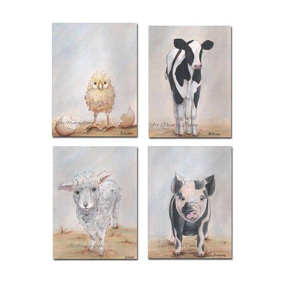 Farm Animal Prints Set Of 4 Baby Farm Animal Nursery Wall