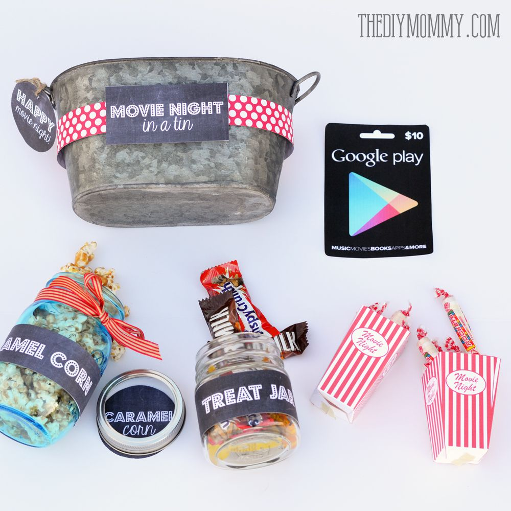 A gift in a tin movie night in a tin gifts to give pinterest military family appreciation month support military families with a thoughtful gift basket idea a movie night in a tin includes free printable tags and negle Gallery