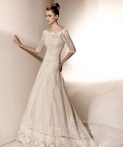Elbow sleeve wedding dress