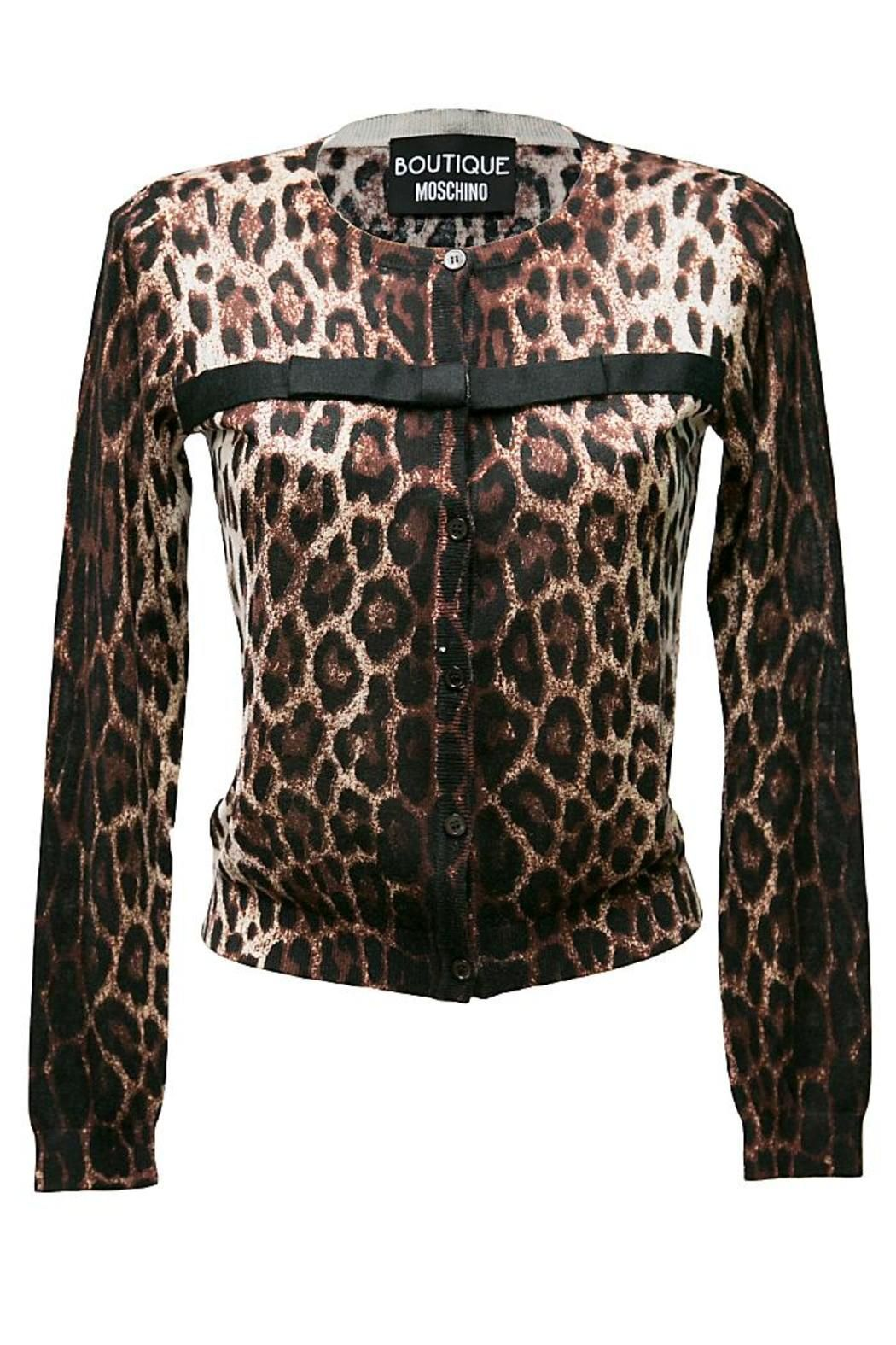 267d6c2039d4 Brown cream and black leopard print round neck cardigan with black bow  detail across the bust, in a super soft lightweight silk cashmere mix, the  cardigan ...