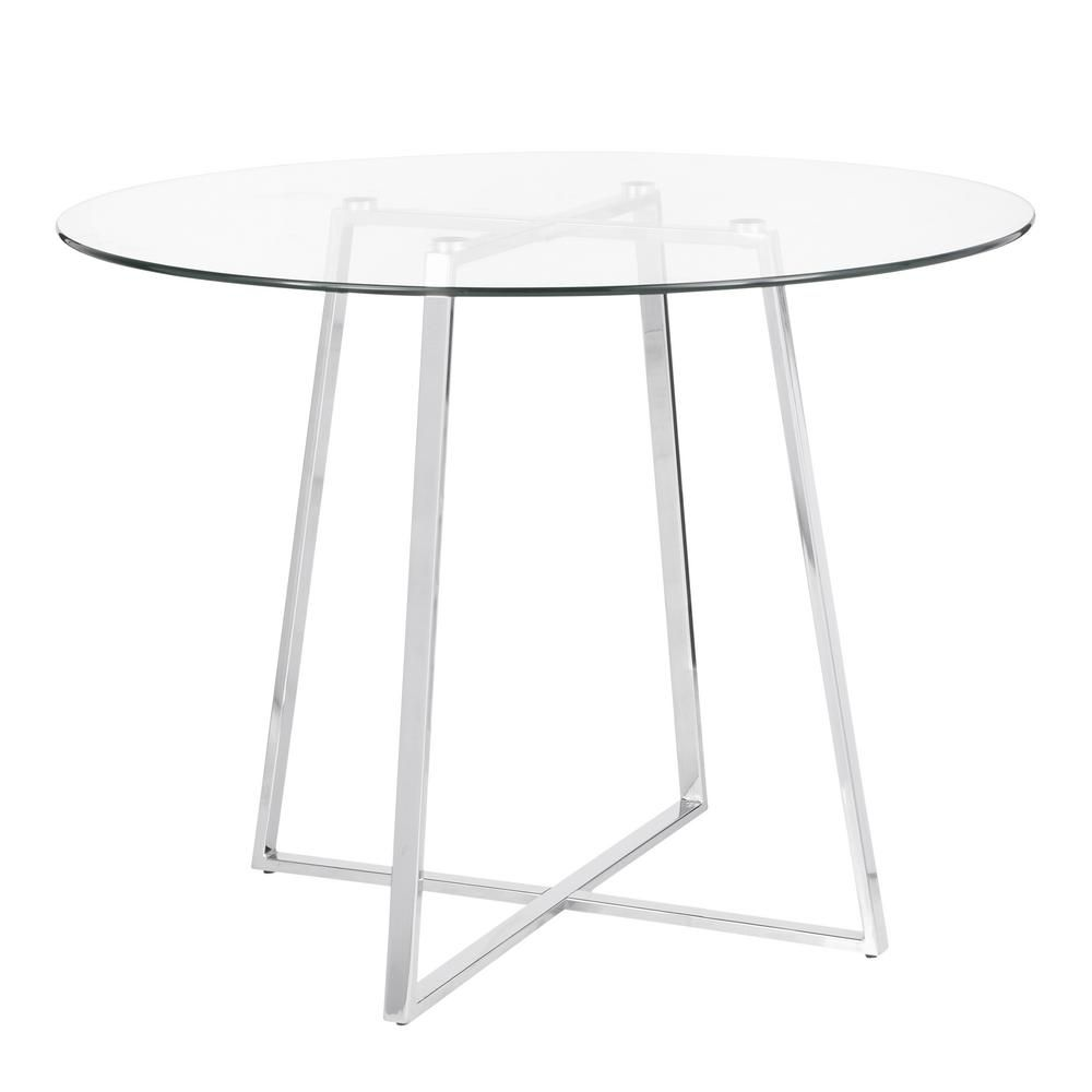 Lumisource Cosmo Round Dining Table In Chrome With Clear Glass Top