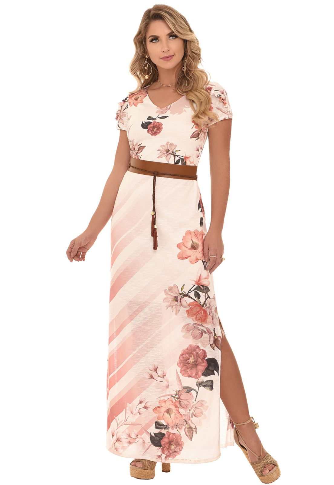 Vestido Fasciniu s Beth Estampa Floral Rosa Moda Evangélica ... 07845d08bbe