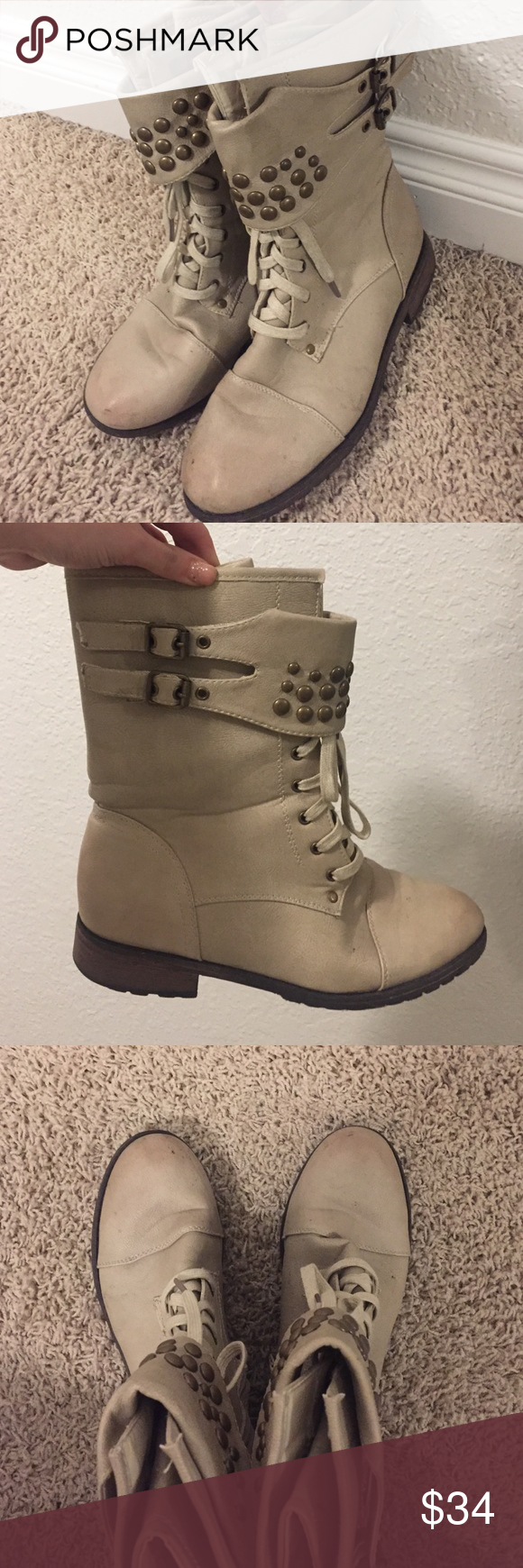 Steve Madden Combat Boots tan zipper on the side studded military boots Steve Madden Shoes Combat & Moto Boots