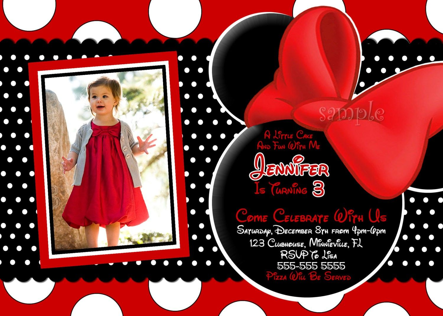 Photo Invitation Cute Birthday Templates Minnie Mouse