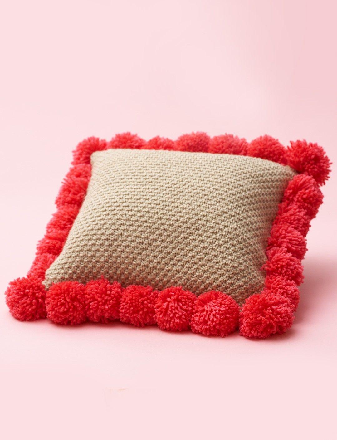 Yarnspirations.com - Bernat Pompom-Edged Pillow - Patterns ...
