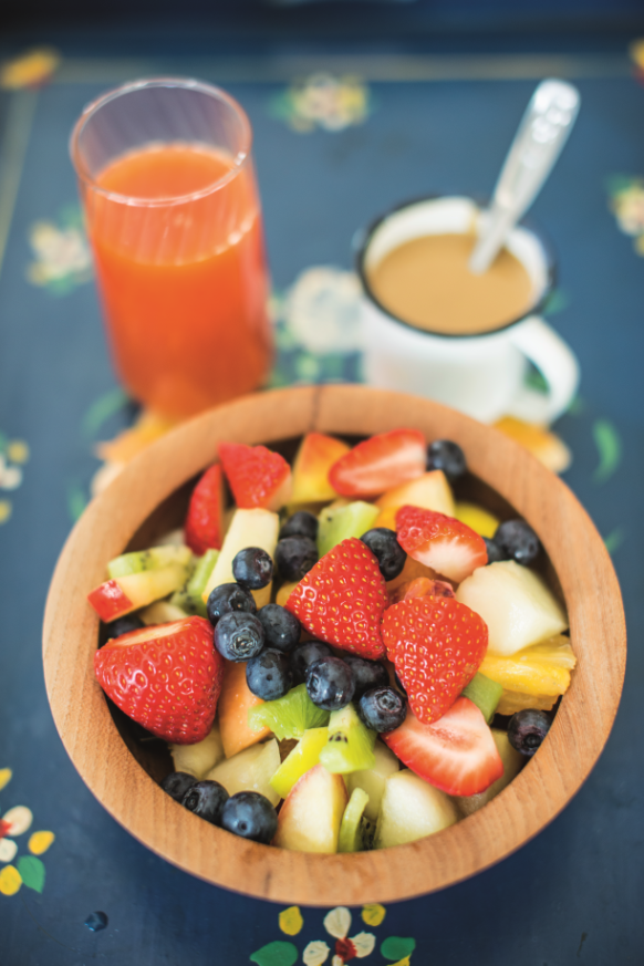 Fruit Salad with Sweet Tahini Sauce from The Happy Pear cookbook. This healthy breakfast recipe is a great way to start your day, bursting with fresh fruity flavours and nutty tahini.