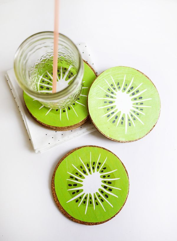 Printable Kiwi Drink Coasters Oh Happy Day  Printable Kiwi Drink Coasters would make a cute bunting or addition to the invitation