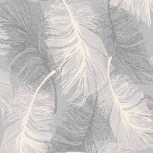 tacheté Gris Plume Papier peint blanc et argent brillant by Coloroll ...