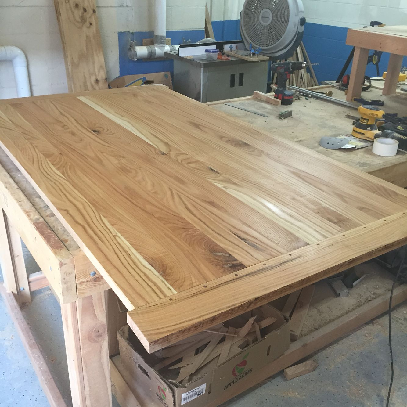 The 42 X 76 Red Oak Farmhouse Table Top Is Fully Assembled. Now Itu0027s Time