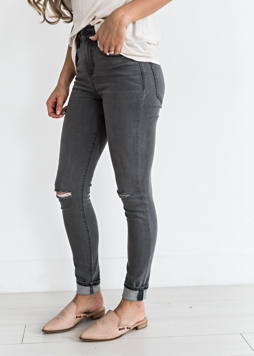 Grey Distressed Jeans Jessakae New Arrivals Distressed Denim