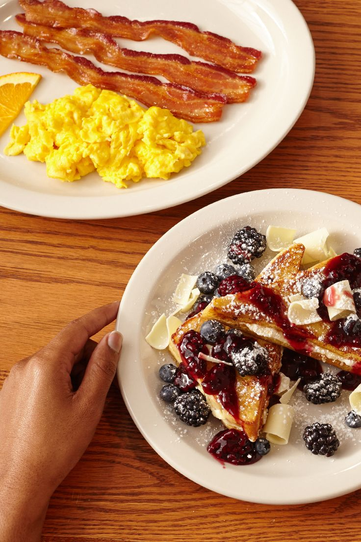 White chocolate n berry french toast breakfast. Is