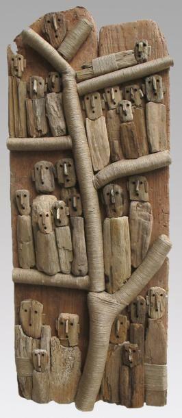 BOURLIER Marc L\'arbre sacré 2 / Sculpture de bois flotté et ficelle ...