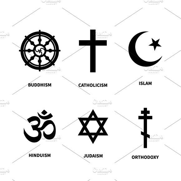 Set Of Most Common Religions Symbols Best Objects Pinterest