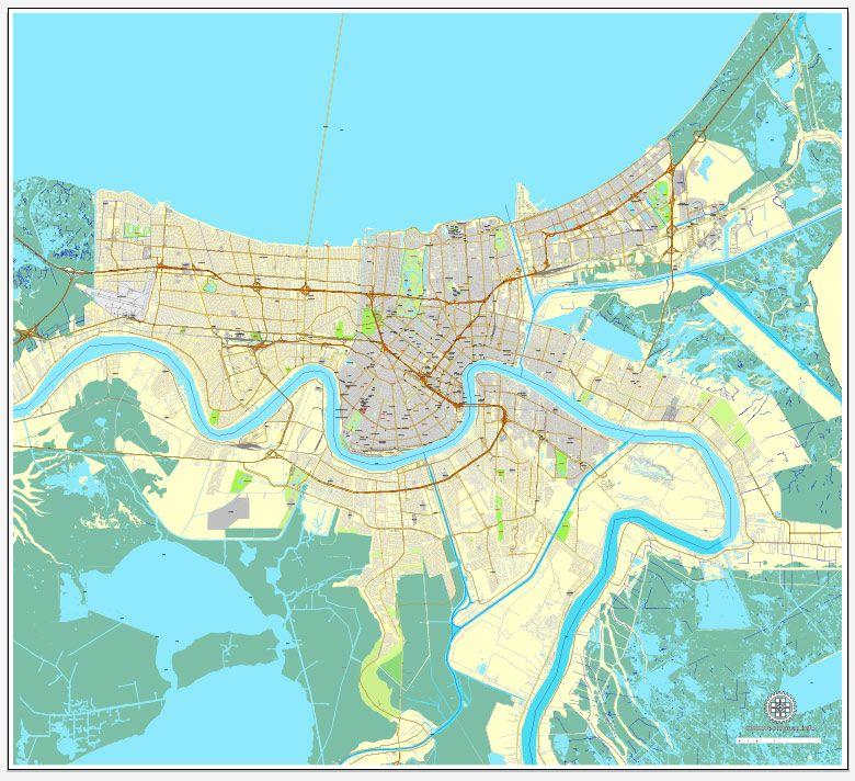 New Orleans Louisiana US exact vector map Adobe Illustrator