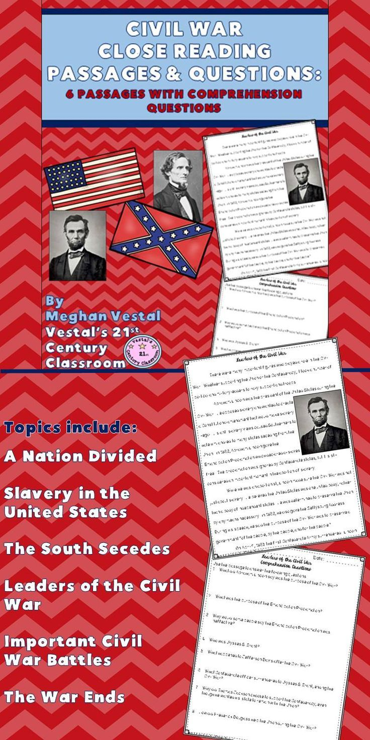 Civil War Close Reading Passages Comprehension Questions Is A Great Way To Integrate Civil War Standard Reading Passages Close Reading Passages Close Reading [ 1472 x 736 Pixel ]