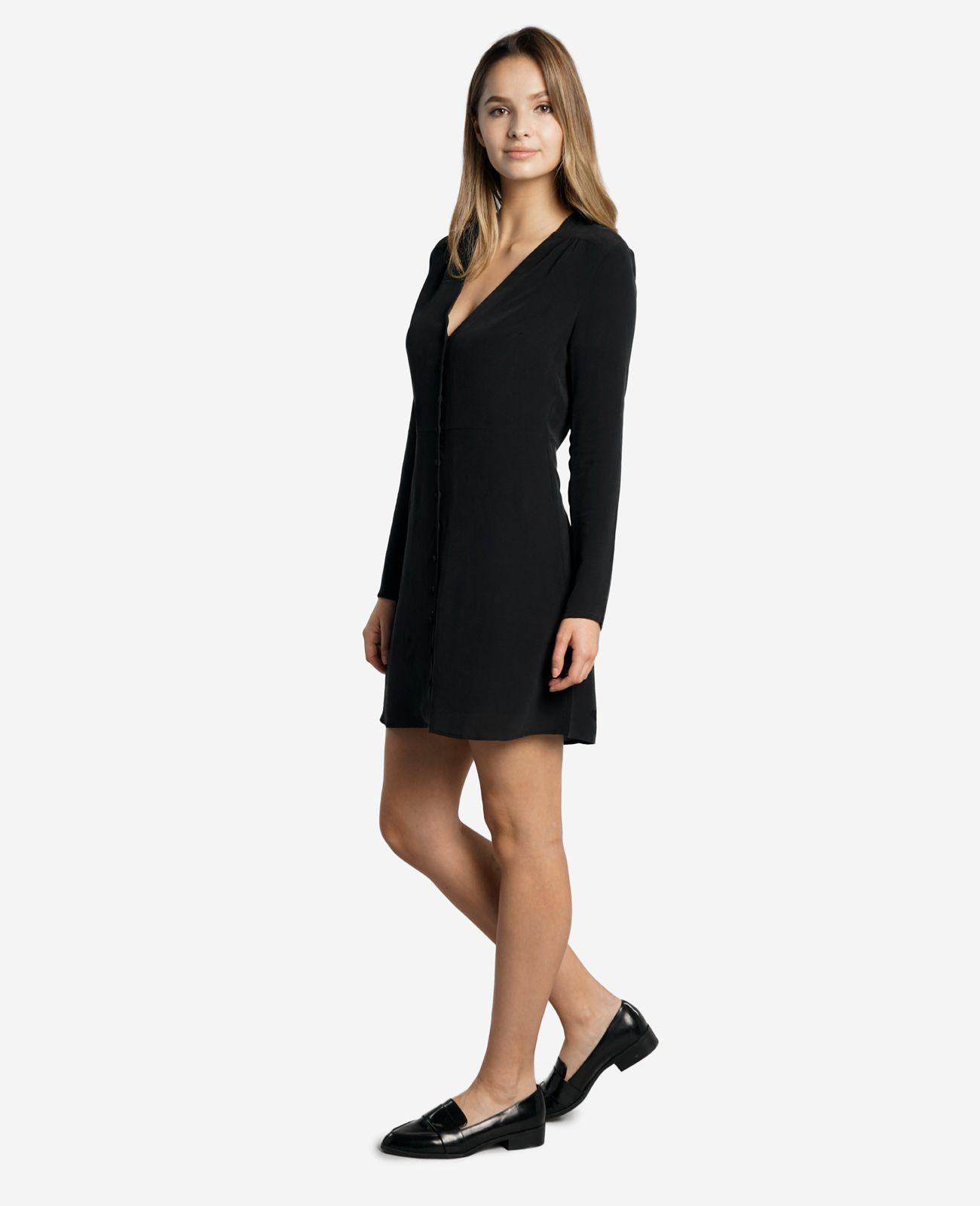 Womenus silk long sleeve tailored dress fashion springsummer