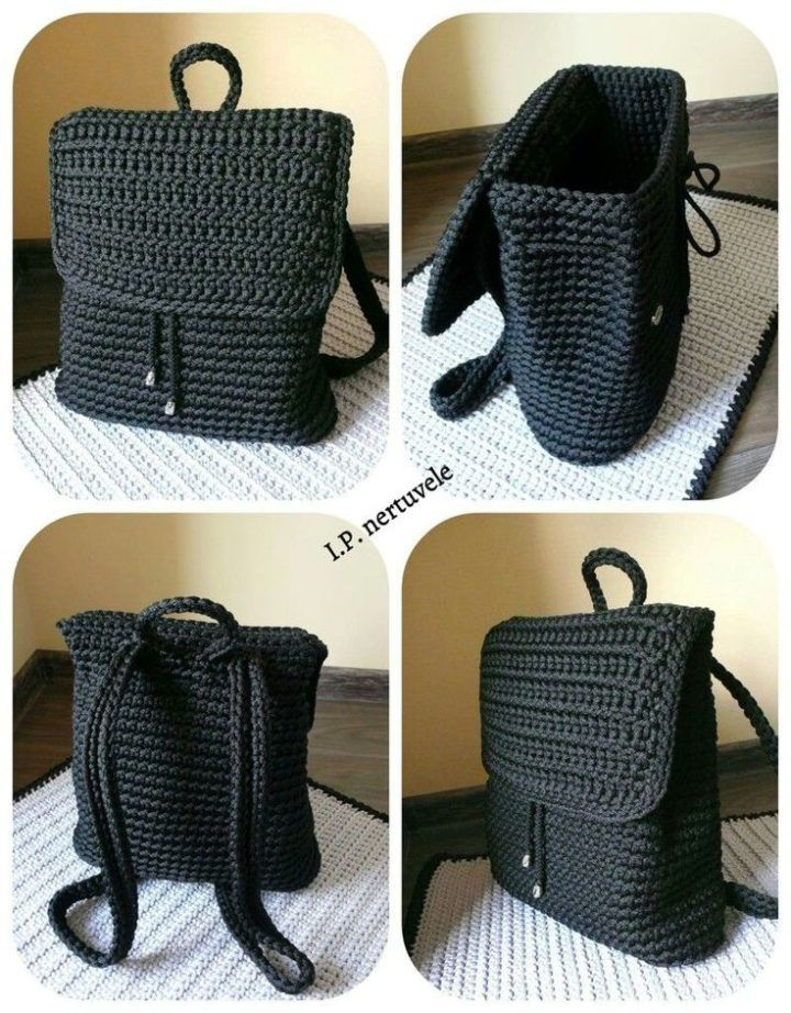 Crochet backpack pattern inspiration / crochet bag from t-shir yarn - Salvabrani