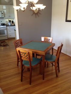 Stakmore (folding Furniture). This Is A Gem In Very Good Condition U0026 Is All  Original Wood U0026vinyl U0026 No Tears/chips; Chairs Backs Have Leaf Des.