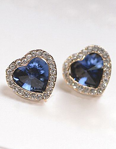 Blue Diamond Gold Heart Earrings 7 83