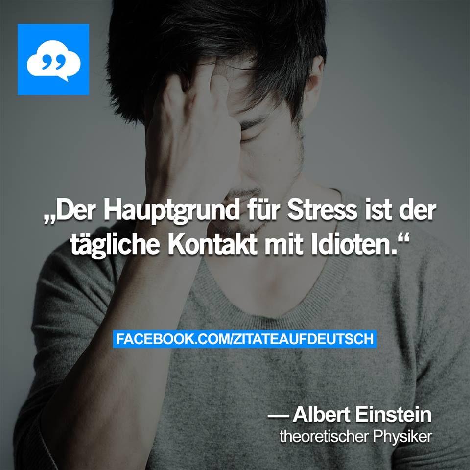 Der Hauptgrund Fur Stress Ist Der Tagliche Kontakt Mit Idioten Albert Einstein Theoretischer Physiker Deutsche Zitate Zitate Spruche Zitate