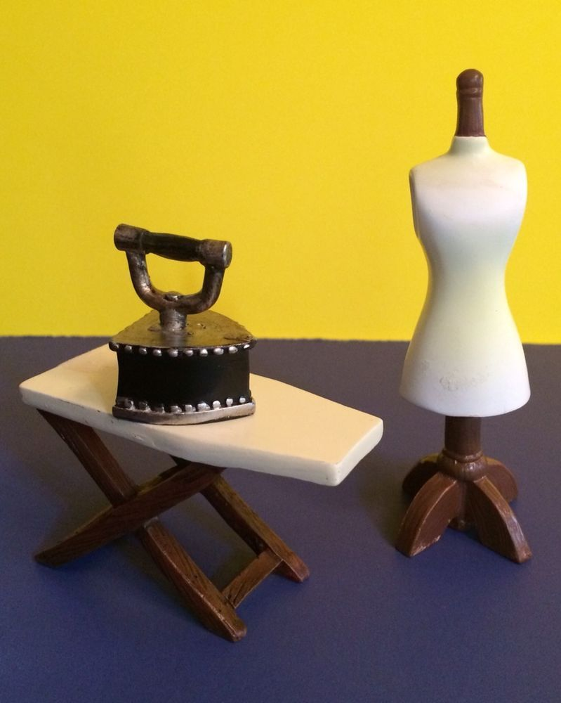 Dollhouse Miniature Lot of Old Fashion Ironing Board, Iron, Dress Form Mannequin
