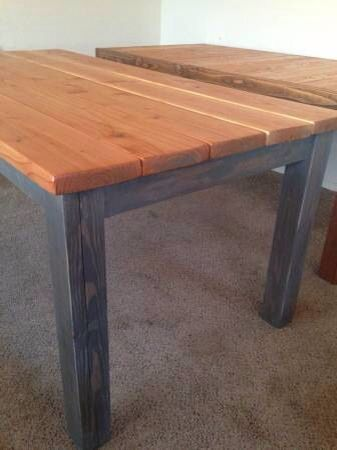 Plank Top Farmhouse Table   Natural Stain Planks With Custom Gray Weathered  Gray Base. Visit
