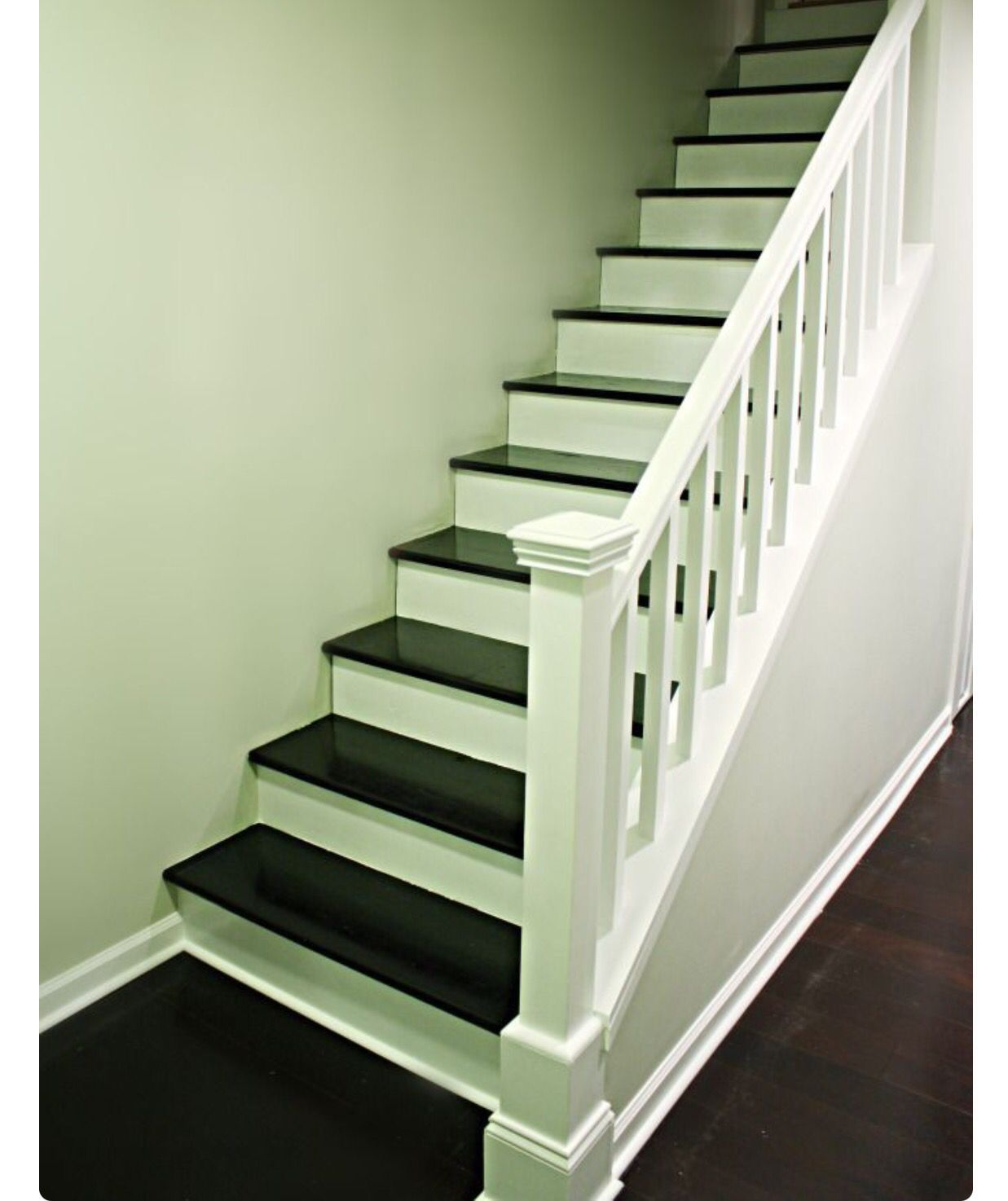 Two toned Basement staircase, Staircase remodel