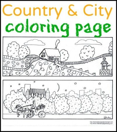 Free printable city and country coloring page from children's book illustrator.