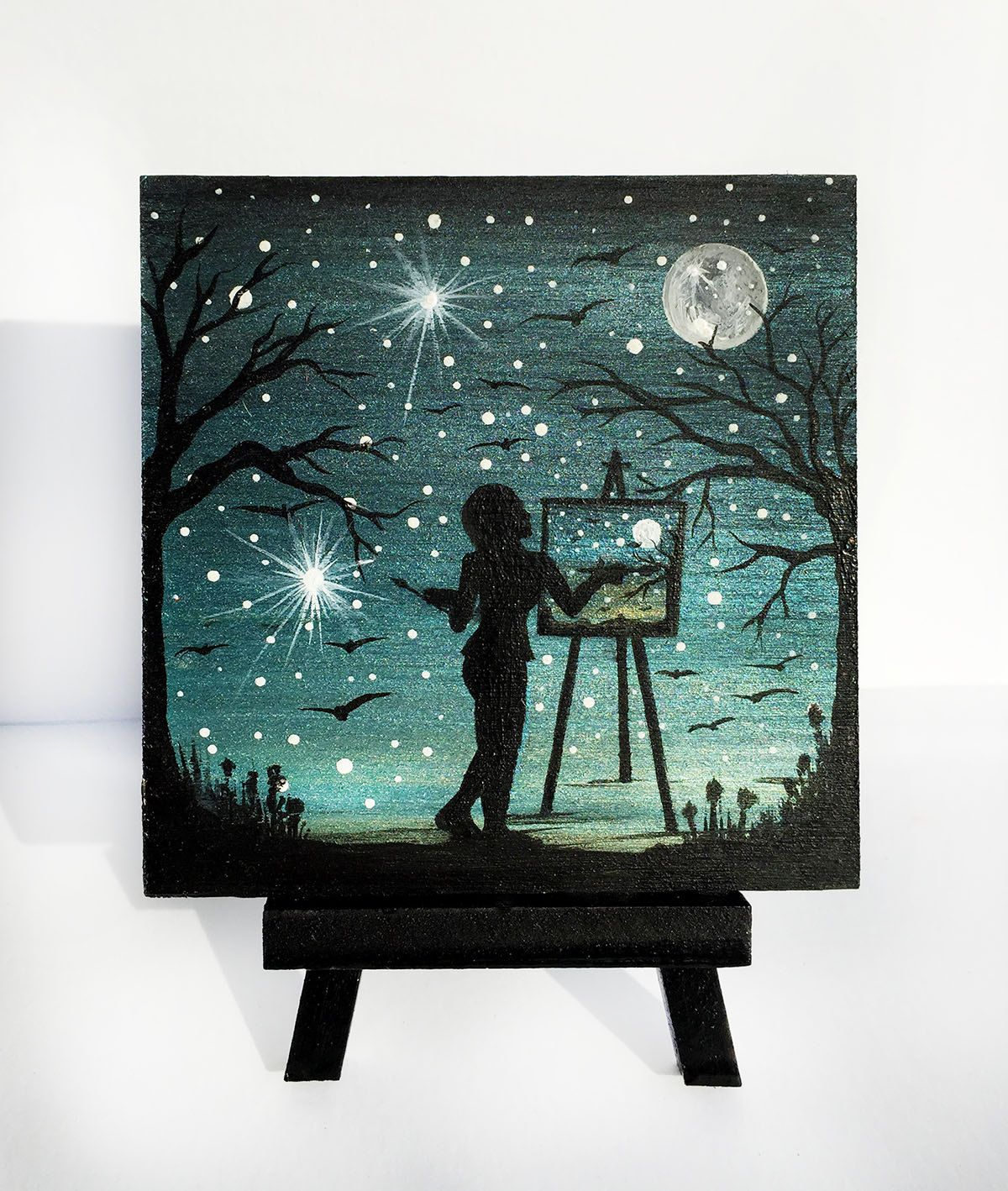 A girl painting -full moon night -  silhouette - miniature original painting on wood