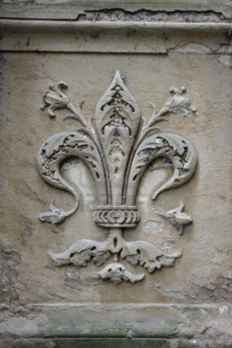 Fleurdelis symbol on street of Florence, Italy. This is