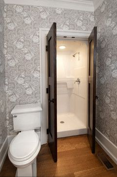 Contemporary Powder Room With Flush Concrete Floors Toto Wall