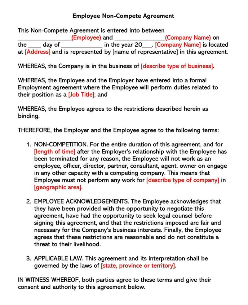 Non Compete Agreement Florida Template Ready To Print