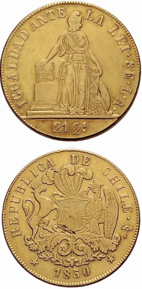 8 Escudos De 1850 Chile Coins Currency Money Monedas De Oro Monedas Oro Antiguo