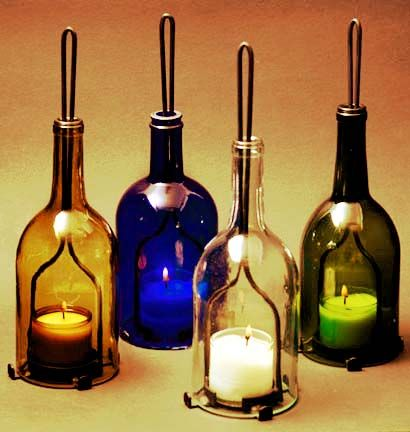 Recycled wine bottle candle holders hobbies for Wine bottle candle holder craft