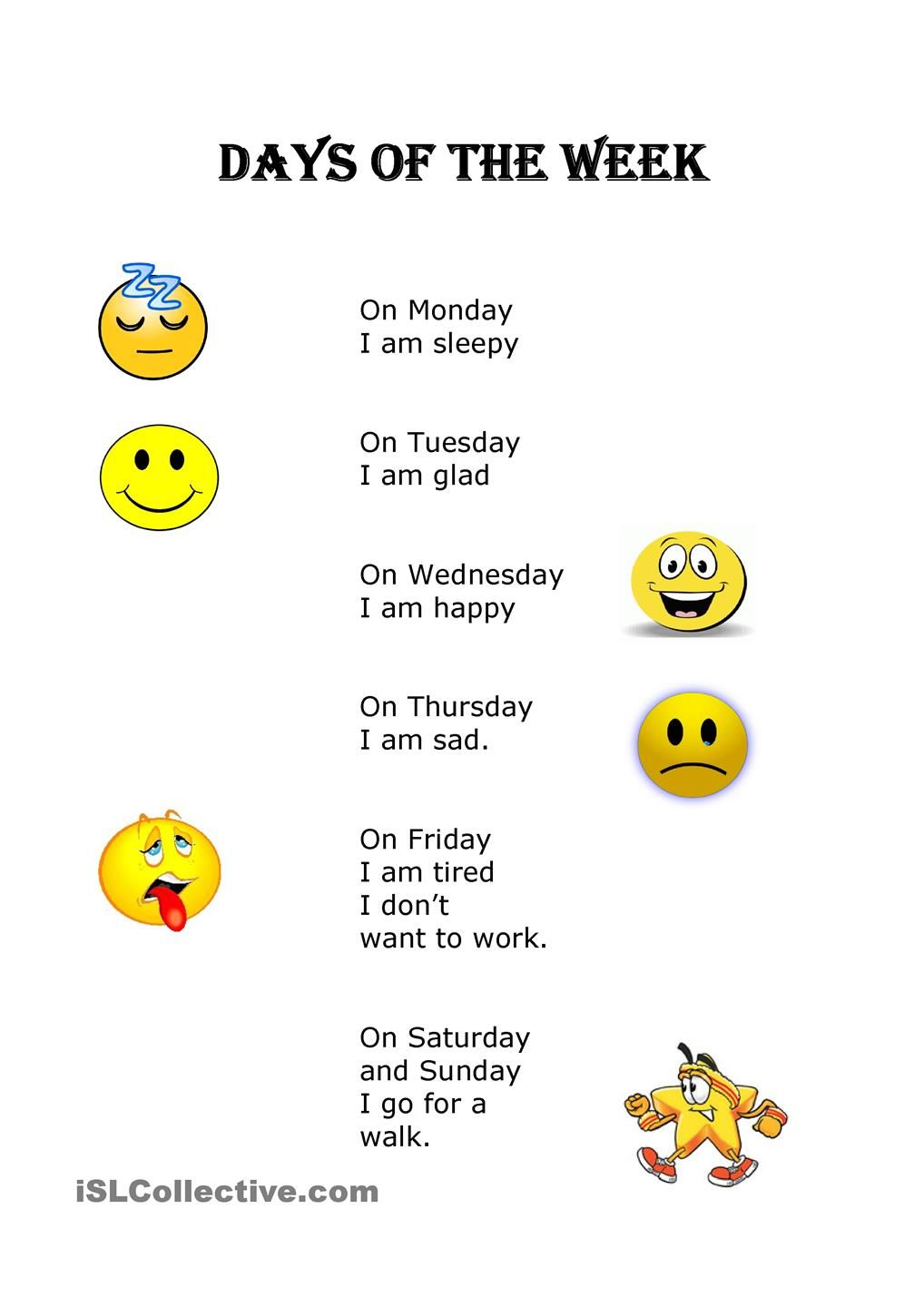 Days Of The Week English Poems For Kids English Worksheets For Kids Kindergarten Songs